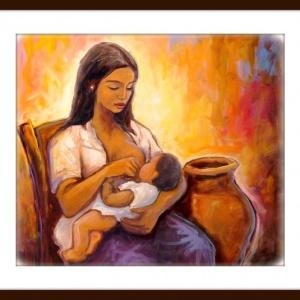 pintura de madre amamantando