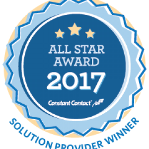 "Lucia got the 2017 ""All-Star"" Constant Contact award"